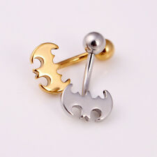 1Pc Stainless Steel Bat Dangle Button Belly Navel Ring Bar Body Piercing