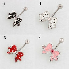 1Pc Stainless Steel Bownot Dangle Button Belly Navel Ring Bar Body Piercing