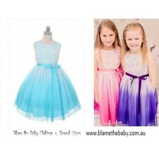 Ombre Dress Flower Girls Pink Purple Aqua: Sizes 2 - 14 *259*