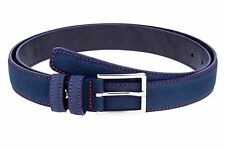 Capo Pelle Designer Narrow Womens Belts leather Blue suede belt RED stitch 1.1""