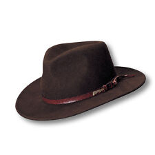 INDIANA JONES Dorfman Pacific Mens Brown CRUSHABLE WOOL FELT OUTBACK HAT New