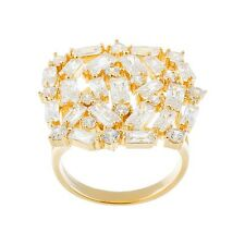 18K YELLOW VERMEIL-Radiant Baguette 5A Cubic Zirconia Abstract Knuckle Ring-925
