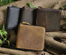 New Mens Genuine Leather Zipper Wallet Cowhide Trifold Wallet Purse Card Holder