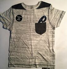 Boys Grey T Shirt with Mask detail in pocket and mock cape printed on back