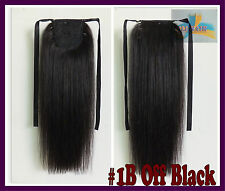 90g 16''~26''Clip In Ribbon Ponytail 100%Real Human Hair Extensions Off Black CA