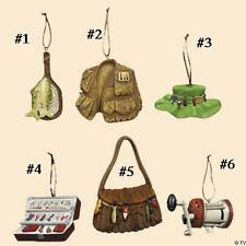FISHING THEME Ornament--Priced Each-reel, hat, vest, tackle box, basket, net