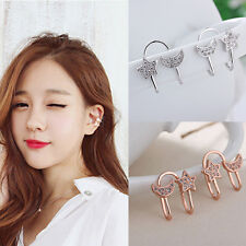 Fashion Moon Star Ear Stud Crystal Ear Clip Elegant Chic Rhinestone Lady Earring