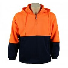 HI VIS SAFETY WORKWEAR HALF ZIP FLEEZE JUMPER HOODIE  FLURO ORANGE WORK WEAR