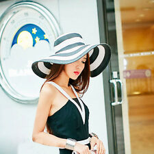 Lady Stripe Large Wide Brim Straw Hat Summer Beach Floppy Sun Cruise Hat