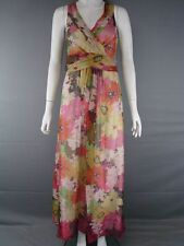 KALIKO SLEEVELESS MULTI COLOURED PURE SILK FLORAL PRINT DRESS SIZE 8-14-RRP £120