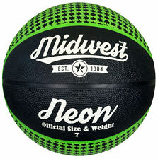 Midwest Street Outdoor Play Official Size & Weight Neon Basketball Black/Green