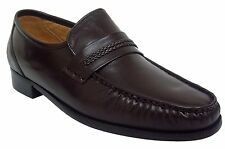 Climate X 21592-4 Mens BROWN Leather Sole Slip On Comfort Dress Mocassin XWide