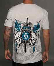 Rebel Spirit Cross Platinum  Grey Rhinestones Royalty Men's tee shirt 429 Patch