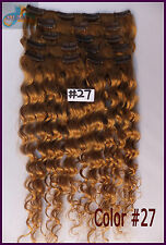 7pcs 140g Curly Wavy Clip In Real Human Hair Extensions Deep Hair Honey Blonde