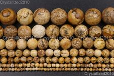 Natural Picture Jasper Gemstone Faceted Round Beads 4mm 6mm 8mm 10mm 12mm 16''