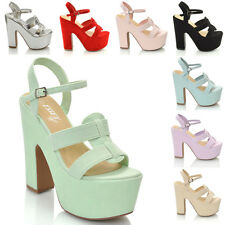 WOMENS HIGH HEEL CHUNKY SANDALS LADIES STRAPPY WEDGED PLATFORM SHOES SIZE 3-8