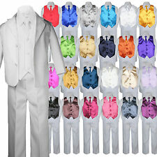 7pc Baby Toddler Boy White Formal Wedding Party Suit Tuxedo Vest Necktie sz S-7