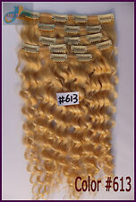 10pcs 220g Deep Wavy Hair Clip In Curly Remy Human Hair Extensions Bleach Blonde