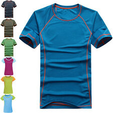 Men Women Gym Sport Running T-shirt Fitness Muscle Quick Dry Short Sleeve Tee N