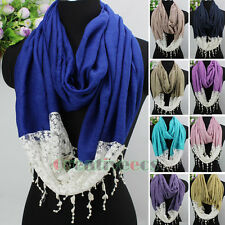 Fashion Women's Vine Floral Lace Tassel Ladies Infinity Circle Loop Cotton Scarf