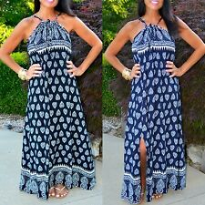 MALIBU BEACH Boho Navy - Black White Paisley Bandana Print Halter Maxi Dress S-L