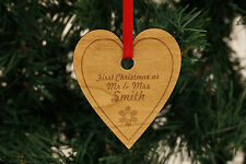 Personalised Christmas Tree Decorations Hearts - Family Mr & Mrs !!