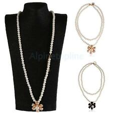 Double Layer Fashion Camellia Flower Pendant Faux Pearl Sweater Necklace Women