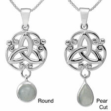 Handmade Sterling Silver Round/Pear Cut Natural Peridot Stone Celtic w/ 18-inch