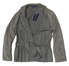 $3,395 Ralph Lauren Purple Label Womens Italy Grey Suede Leather Belted Jacket