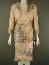 FRANK USHER PASTEL PEACH MOTHER OF THE BRIDE JKT,TOP & SKIRT SILK SUIT SIZE12&14