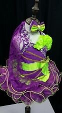 National Pageant Dress Glitz Purple lime green 6-12months, 1-2, 3-4, 5-7, 8-10T