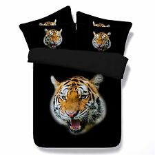 3D Bedding Queen Quilt Doona Duvet Cover Bed Sheet Pillowcase Set -Tiger Mighty-