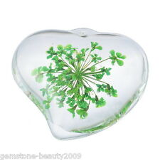 GB Wholesale Natural Dried Flower Green Glass Pendants Droplet Shape Jewelry