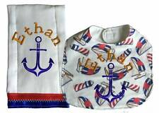 New Personalized Embroidered Handmade Blue Red Nautical Bib Burp Cloth Sets