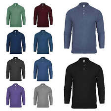 Mens Polo T Shirt Pique Jersey Top Plain Long Sleeved Collared Casual S-XXL New