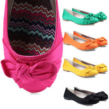 TheMogan Bow Ballerina Satin Comfy Casual Ballet Flats Shoes