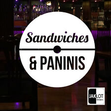 CAFE COFFEE WINDOW DECAL STICKERS CIRCLES RANGE. This One - SANDWICHES PANINIS