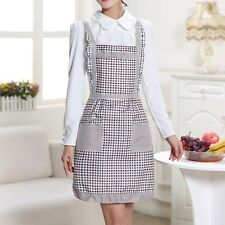 Lady Kitchen Cooking Apron Dress Lacework Bib Apron Chef Flower Pocket Pinafore