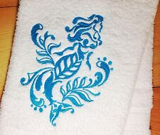 Damask Mermaid Towels~ Embroidered Nautical Towel~ Hand, Bath Towel Sets
