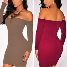 Women Sexy Off Shoulder Long Sleeve Bodycon Mini Dress Party Cocktail Club Wear
