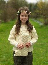 Childrens Wool Aran Sweater by Carraig Donn Available in Red/Natural/Green