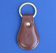 "NWT Polo Ralph Lauren Leather Split O-Ring ""Polo Player"" Key Chain Fob"