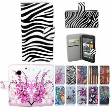 Flip Stand PU Leather Card Wallet Slot Phone Case Cover Patterned For HTC One M7