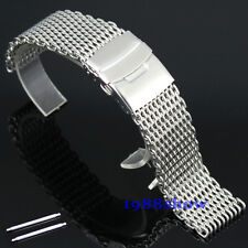New Fashion 18 20 22 24 MM Shark Stainless Steel Diving Watch Mesh Band Bracelet