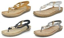 Womens Ladies Leather Look Toe Post Slingback Comfort Sandals Tan Black Size 3-8
