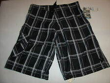 NEW Hurley  black plaid board boardshorts youth  boys swim swimsuit sz 5 18 20