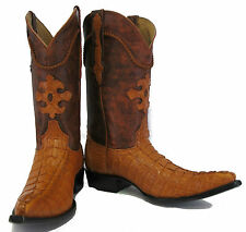Men's Genuine Crocodile Alligator Exotic Tail Cowboy Western Boots XXX  Cognac
