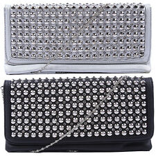 Mogan Embellished Studded Flap Clutch Bag With Shoulder Chain Strap