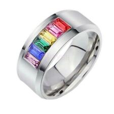 Rainbow Stainless Steel Colourful Rhinestone Ring Gay Les Pride US Size 5-13