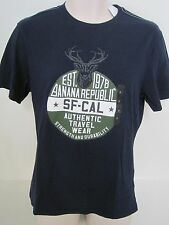 BANANA REPUBLIC Men's Navy Authentic Travel Wear Graphic T-shirt SMALL NWT